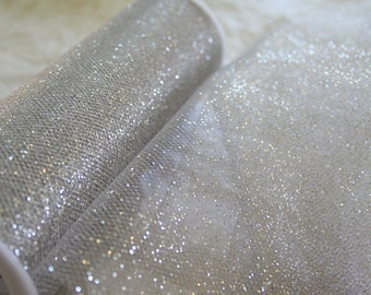 SILVER GLITTER TULLE, By the Roll or Yard, 7 Color Choices