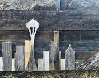 Seattle Skyline Handmade with Reclaimed Wood