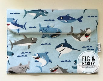 Boy Diaper Wallet - Diaper Bag Organizer - Diaper Clutch - Baby Shower Gift - Nappy Bag - Sharks - Wipes pouch - travel bag - Skarktown -