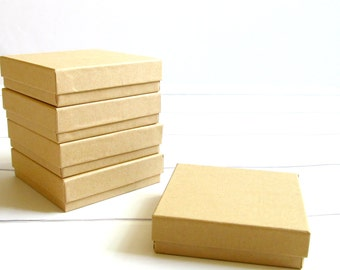 50 - 3 1/2 x 3 1/2 x 1 inch Brown Kraft Cotton Filled Jewelry Boxes-jewelry packaging,kraft jewelry boxes,brown kraft boxes, wedding favors