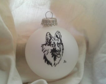 Personalized German Shepard on a White Christmas Ball