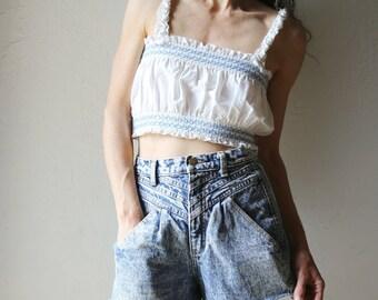 Acid Wash Super High Rise Denim Shorts // 26 Waist