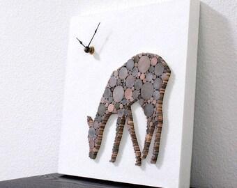 Rustic Modern Clock, Minimalist Wall Decor, Deer Clock, Nursery Decor