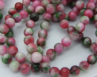 50 beads 8 mm pink, green, white jade sprinkled with a 2 1 mm hole