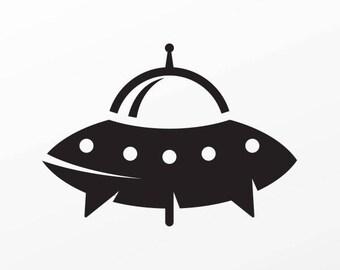 Stickers decal Cute UFO Flying Disc Alien space SCI-FI Tablet Laptop Weatherproof Sports car 15322