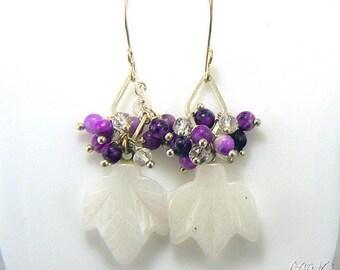 Boucles d'oreille Hoja - feuille en agate naturelle et perles en sugilite