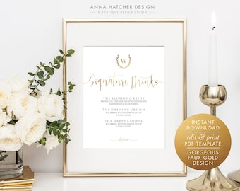 Gold Wedding Signature Drinks Sign, Laurel Wreath Monogram, Faux Gold 8x10, 8.5x11 Editable PDF Sign Template, DIY printable sign WED1BDAY
