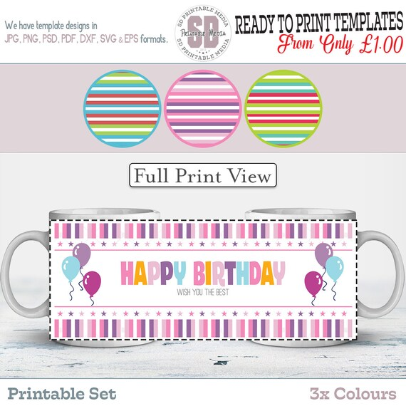 Birthday Sublimation Mug Design, Birthday Mug Design Template ...