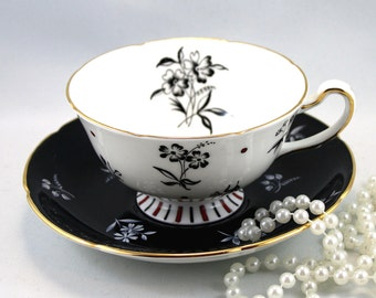 Royal Grafton Art Deco  Footed Teacup & Saucer, Lovely  Black  White Pattern, Gold Rims, Bone English China made in 1970s.