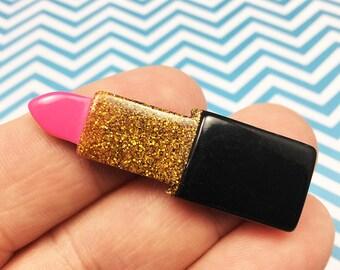 Pink & Gold Glitter Lipstick Kawaii Resin Flat Back, Makeup, Fashion, (R007)