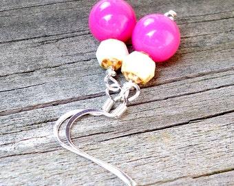 Hot Pink Earrings Hot Pink Dangle Earrings Bright Pink Earrings Tropical Pink Earrings Pink and Cream Earrings Neon Pink Earrings Beachy