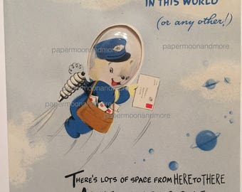 Vintage Birthday Card Rocket Man Mail Carrier Unused NOS 1950s