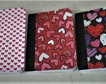 notebooks, set of 3 heart motif notebooks , pocket size