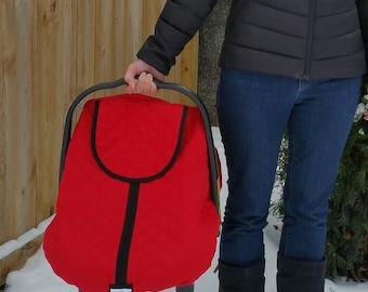 Baby Carseat Cover-Infant Car Seat Cover-Baby Car Seat Canopy-Winter Carseat Cover Polar Car Seat Line- Red with Black Trim