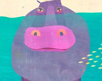 Underwater Hippo, Canvas Art Print for Children's Room or Nursery