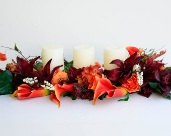 Wedding Memory Candle Arrangement in Red Orange and Browns for Fall Calla Lilies Roses