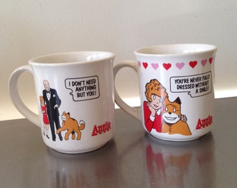 Vintage 1982 Little Orphan Annie & Sandy Columbia Pictures Ceramic Coffee Mug