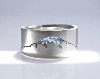 Mount Rainier Summit Ring, 8mm Band, Mt Rainier, Custom Gemstone Inlay Ring, Handmade Mountain Ring w recycled Precious Metal, Mens Ring