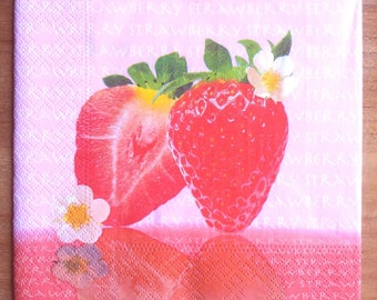Pack of 20 paper napkins Strawberry