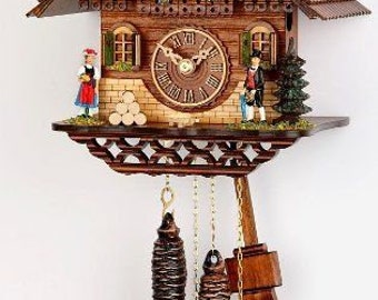 Black Forest Cuckoo clock Mechan. 1 day, chain-Cuckoo call Costume couple