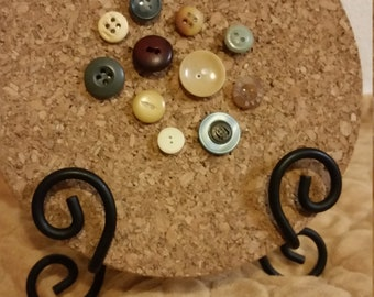11 Decorative Neutral Eclectic Vintage Button Push Pin Tacks