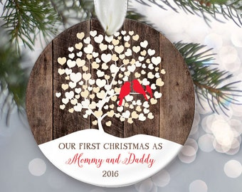 Lovebirds Our First Christmas as Mommy and Daddy Ornament, Personalized Christmas Ornament, Rustic faux / fake Wood Ornament, OR007