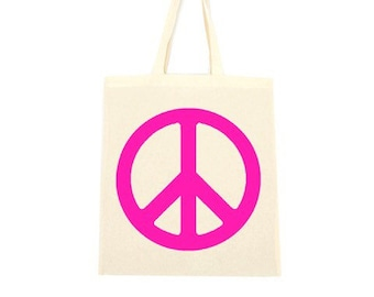 cotton tote bag, peace pink
