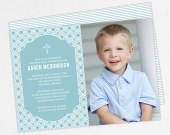 First Communion Invitation, First Holy Communion Invitation, Photo Communion Invitation, DIY Invite, PDF Invitation, Boy Invite, Blue, Aaron