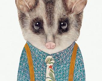 Mr Possum Art Print, Animal Wall Art, Cute Animal Poster, Australian Animals, Kids Room Decor,