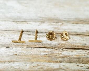 T bar earrings/14k bar earrings/Tiny bar earring/T earrings/14k T earrings/Cute T bar earrings/birthday gift/T bar/Bar T earrings/T stud