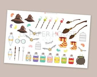 Harry Potter autocollants, autocollants de planificateur mat ou brillant, autocollants de planificateur de vie, erin condren filofax mambi planificateur heureux