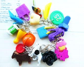 OOAK plastic toys bracelet - kitsch colourful - statement bracelet - rainbow chunky charms bracelet - fun jewelry - dolls accesssories