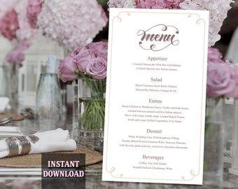 Printable Wedding Menu Template DIY Menu Card Template, Script Menu Template, Editable Menu, Coffee Menu Download Calligraphy Menu, Swirl
