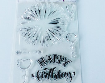 6 transparent stamp happy birthday happy birthday fire ball of fireworks clear silicone stamp