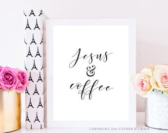 Gallery Wall Art - Jesus and Coffee - Printable Wall Art - Printable Art - Printable - Gallery Wall Decor - Christian Art - Gallery Wall