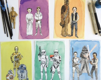 All Five Star Wars Watercolor Prints