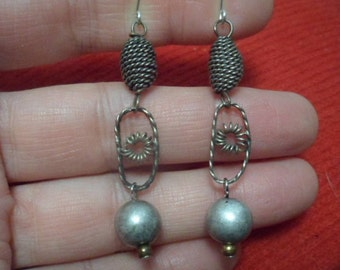 MEXICAN BEEHIVE FILIGREE Mexico Bead Ball Dangle Drop 925 Sterling Silver Earrings Lightweight Unique Classic Elegance
