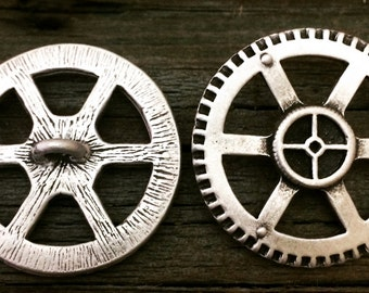 Steampunk Gear Pewter Shank Button   Steam Punk Buttons   Vintage Button   Metal Button   1 1/4 Inch (32 mm)   by Treasure Cast Pewter