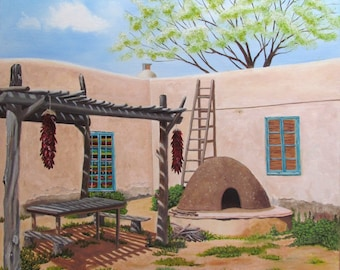 Adobe house oil original southwest art Taos, New Mexico 20x20