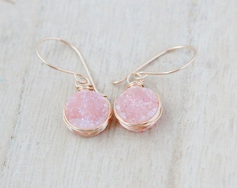 Druzy Gold Earrings , Dangle Drop Quartz Bezel Wrapped Gemstones 14k Gold Filled , Rose , Sterling Silver   - Sherbet