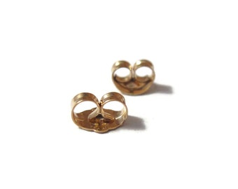 Gold Earring Backs, Gold Filled Ear Nuts, 6mm x 4.5mm, 2 Pieces, One Set of Gold Earring Backs for Jewelry (F 7041f)
