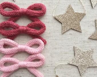 Hand-knit Schoolgirl Bow in Light Pink - hair clip or baby nylon headband