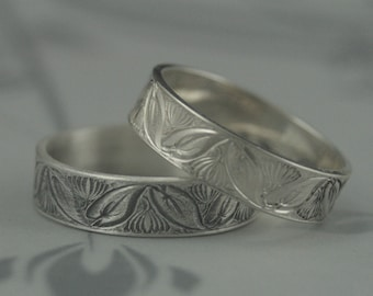 Silver Wedding Band--Lotus Water Lily Ring--Women's Wedding Ring--Flower Ring--Leaf Band--Lotus Ring--Men's Wedding Ring--Vintage Style Ring