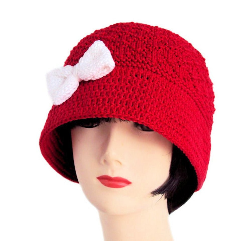 Cloche Hüte für Frauen Glockenhut Mohn rot Hut mit