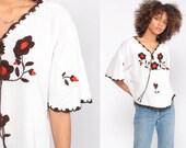 Mexican EMBROIDERED Blouse Hippie Top Floral Shirt Boho Shirt FESTIVAL Tunic Bohemian Vintage Ethnic Retro White Medium