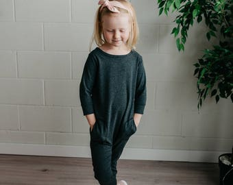 Mini Me Romper (charcoal) - kids romper, toddler romper, baby romper, mommy and me romper, harem romper, onesie, romper, charcoal romper