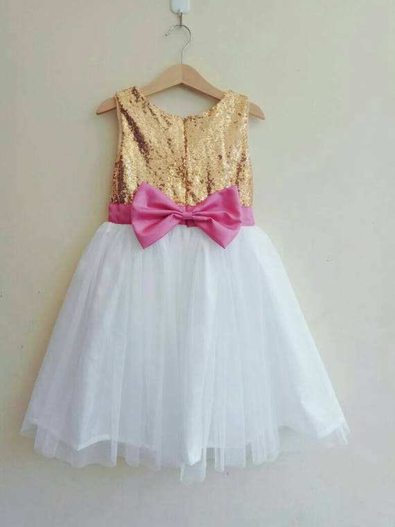 Gold white and pink flower girls dress gold and white like this item mightylinksfo Gallery
