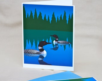 Loon Note Card, Bird Duck Forest Blue Green Woodland Illustration Stationery Set Stationary Set
