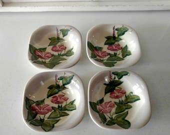 Red Wing Pottery Pink Morning Glory / Fruit Bowls / Mid Century Dishware / Small Floral Bowls / Mid Century Pottery /  Red Wing Bowl