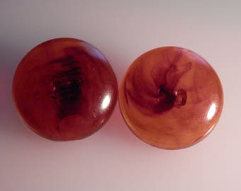PAIR of Vintage Faux Tortoise Shell Buttons